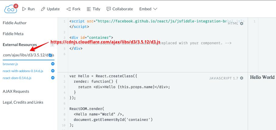 Add D3 js as an external resource