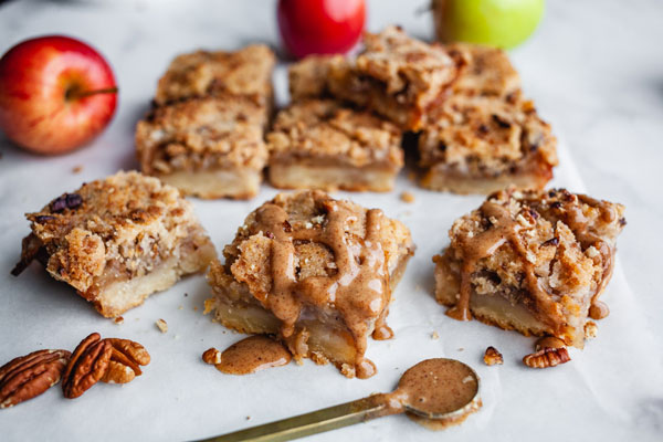 Apple Kuchen Bars With A Spiced Salted Pecan Caramel