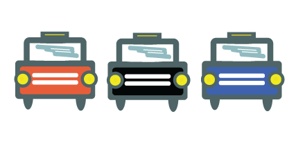 Coloured cars icons