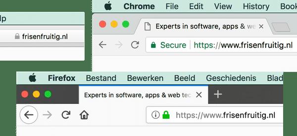 Het groene slotje in een browserbalk geeft aan of er HTTPS wordt gebruikt