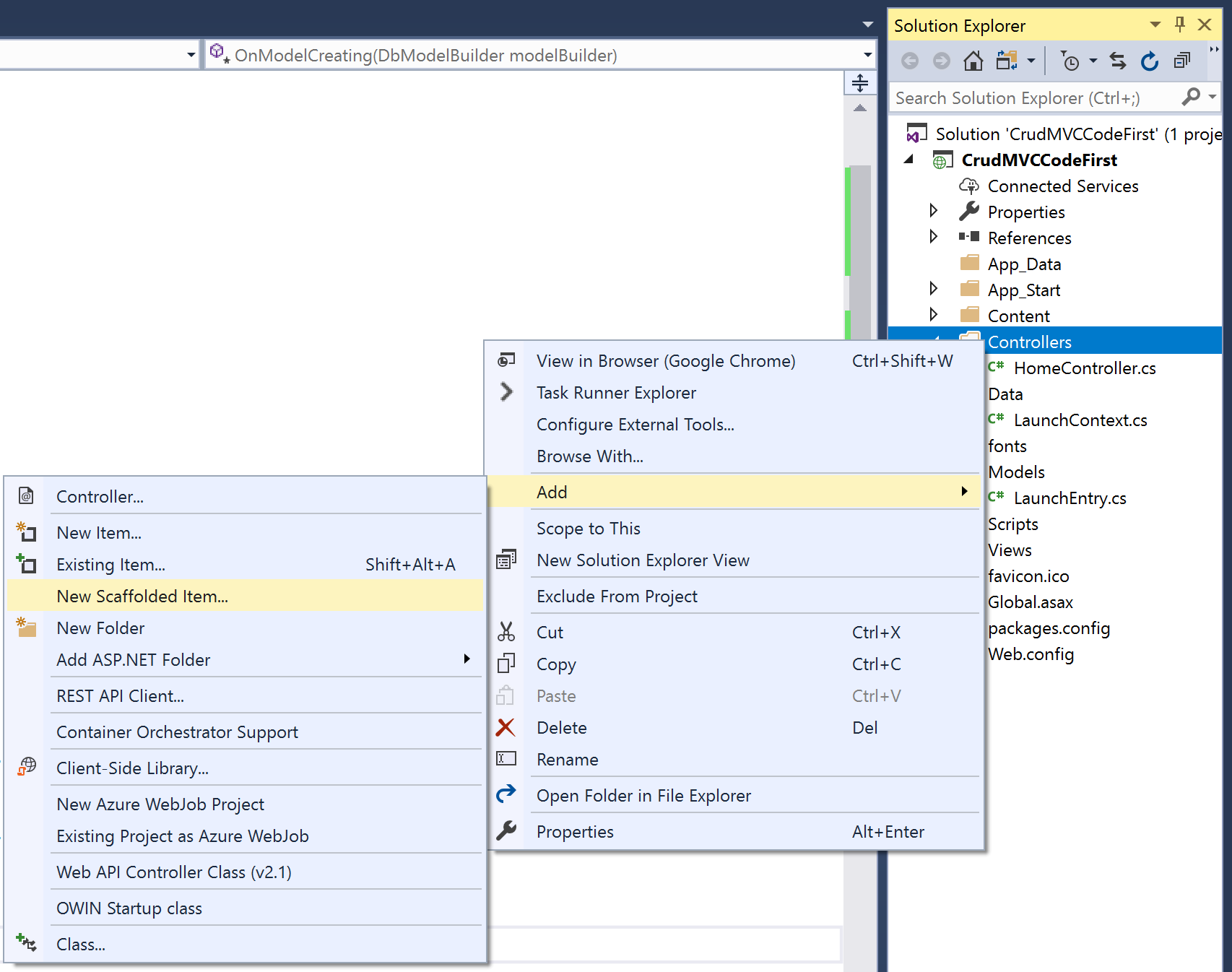 Visual Studio add a new scaffold item