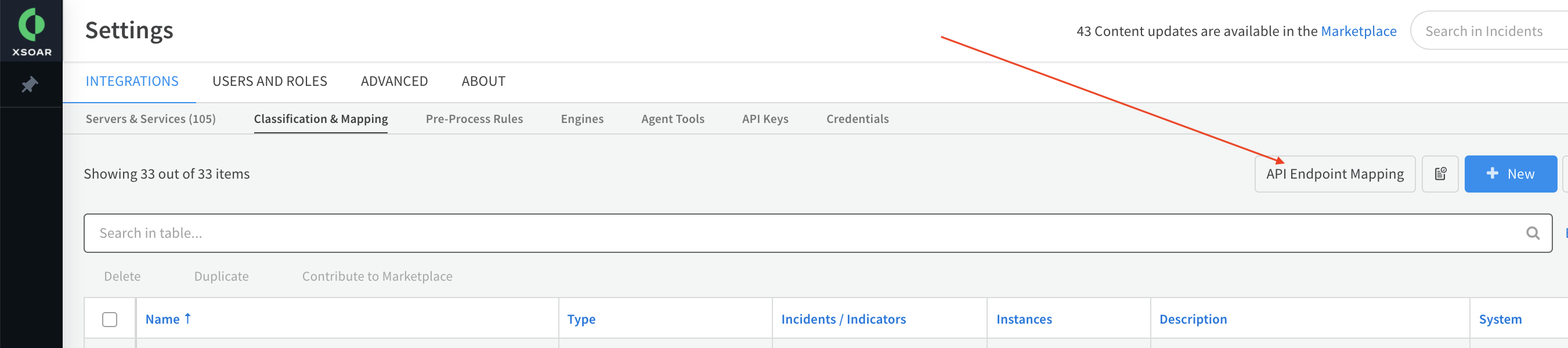 API Endpoint Mapping Button