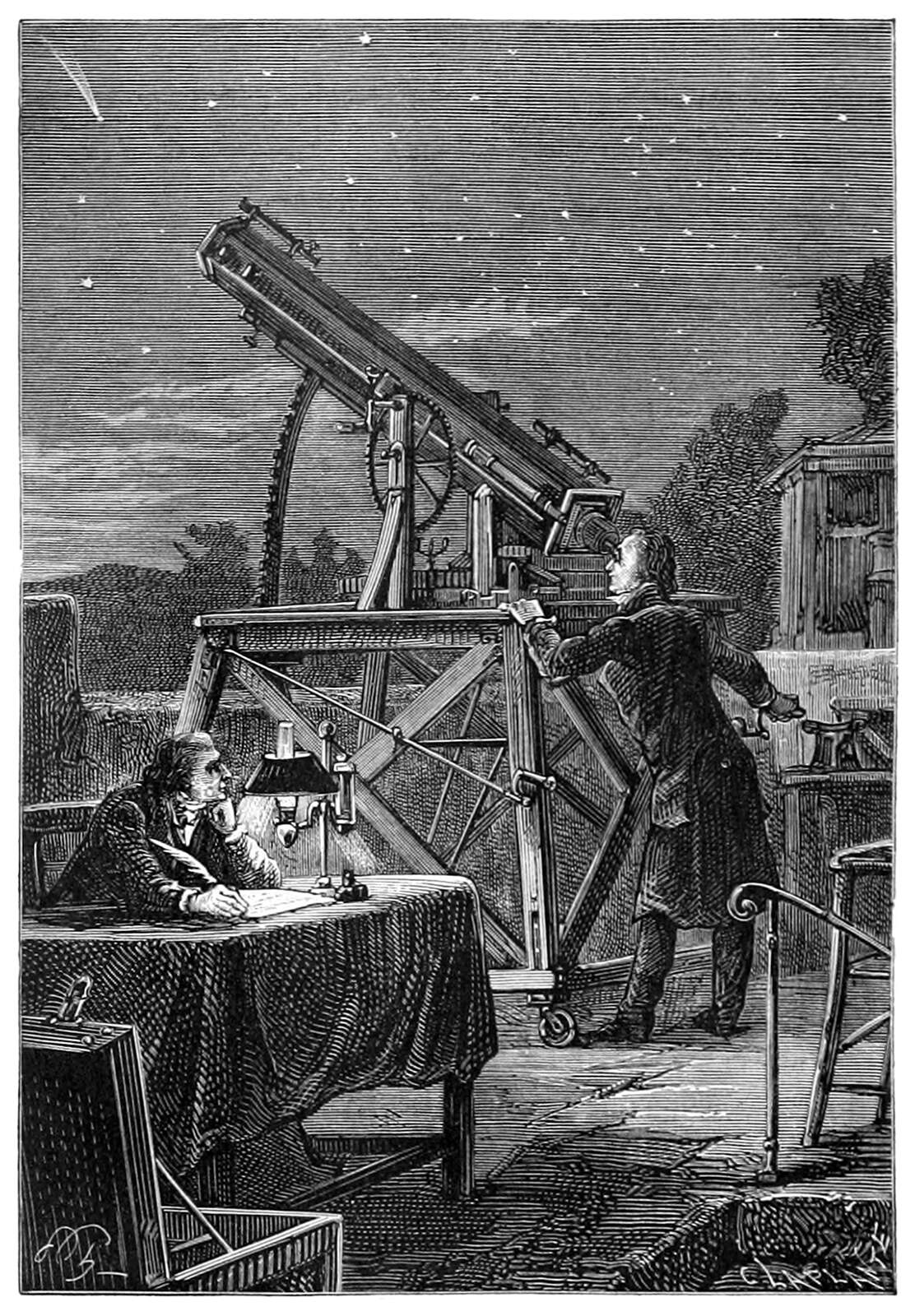 An astronomer looks up at the stars