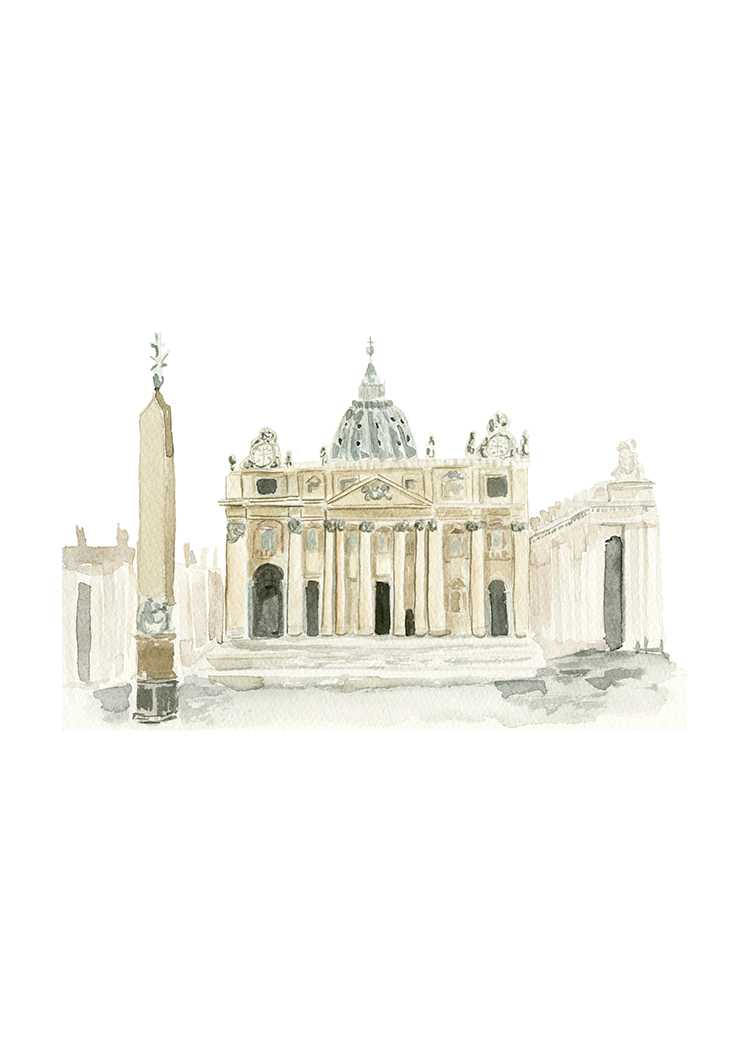 St. Peter's Basilica watercolor illustration by One and Only paper