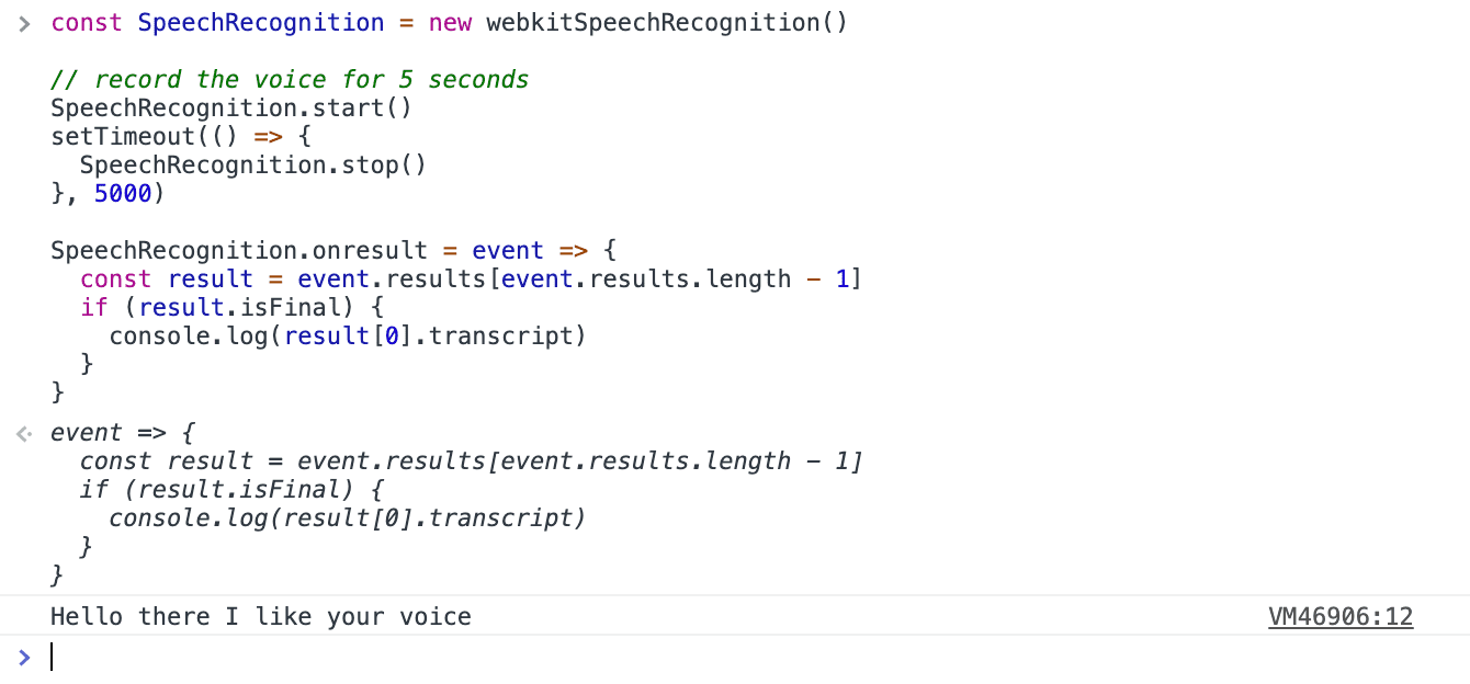 voice recognition webkitSpeechRecognition speechSynthesis