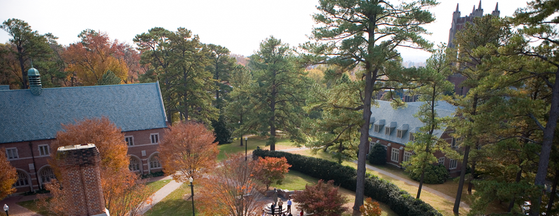 Arial view of the University of Richmond campus