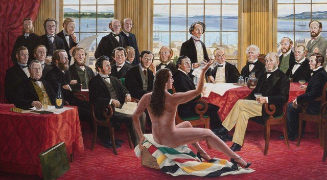 """""""The Daddies"""", an acrylic painting by Cree artist Kent Monkman, gives an Indigenous view of Canada's Confederation"""