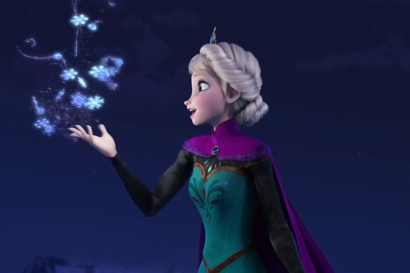Elsa embraces her powers on the mountain, Frozen
