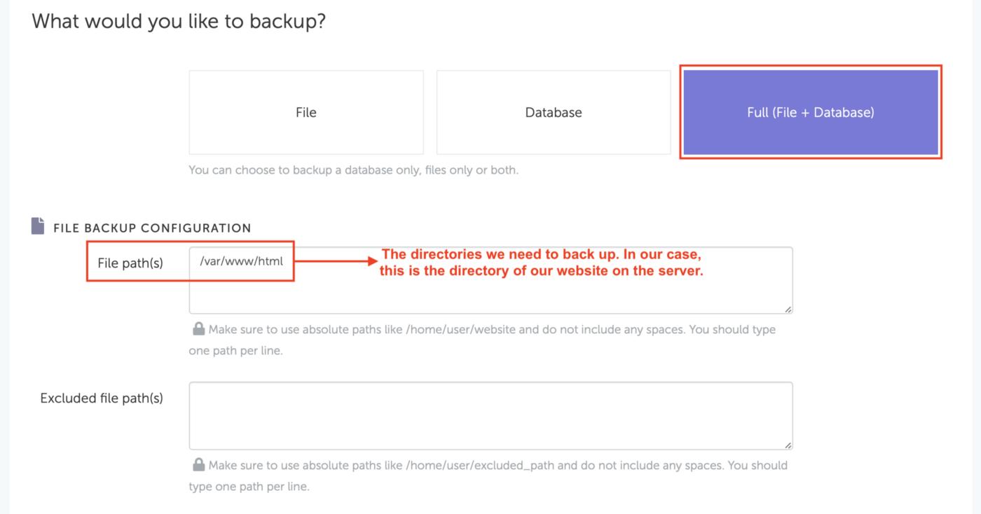 SimpleBackups - Choose files