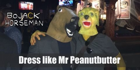Mr. Peanutbutter is always on the move with his gray, v-neck t-shirt, his aquamarine sweatpants and his orange basketball sneakers. Slip on your Golden Retriever party mask, put on your aviator shades and throw in his signature green and brown wristbands. There you go! You're ready to sniff your way to your next costume party or convention