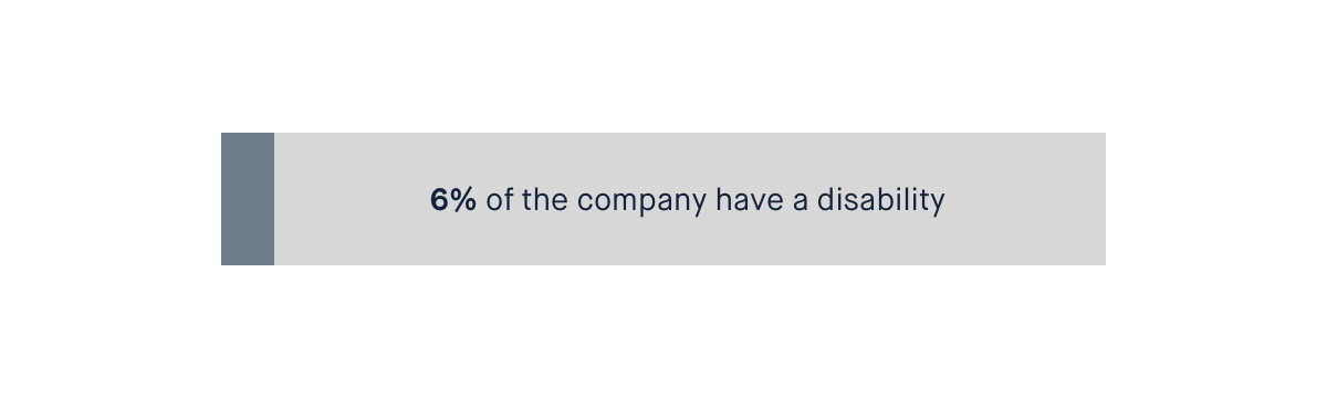Bar showing that 6% of people in the company have a disability.