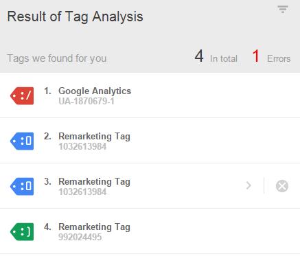 Google Tag Assistant.
