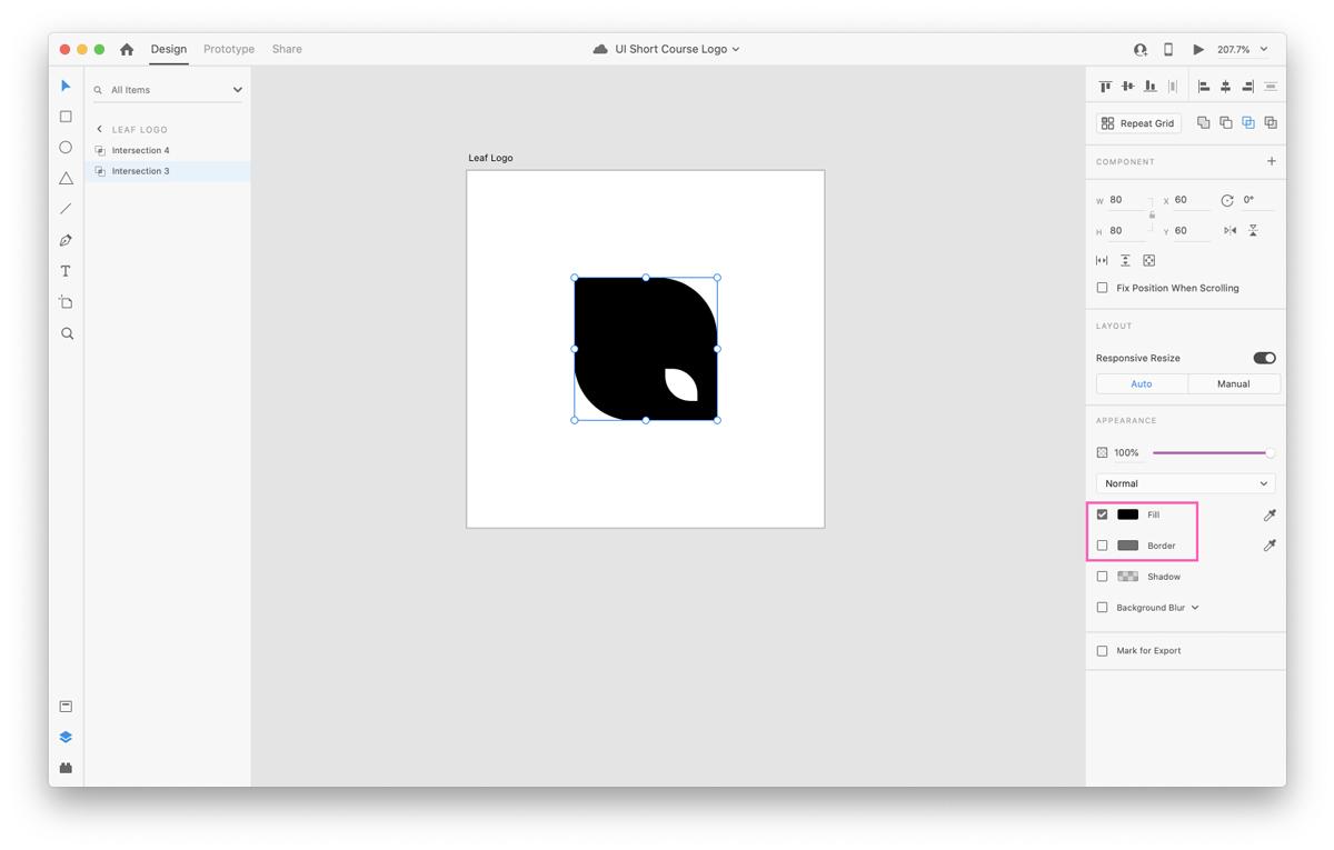 Leaf shape in Adobe XD