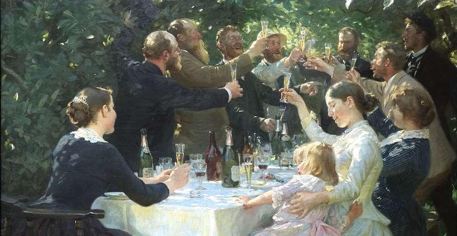 Gemälde von feiernden Menschen