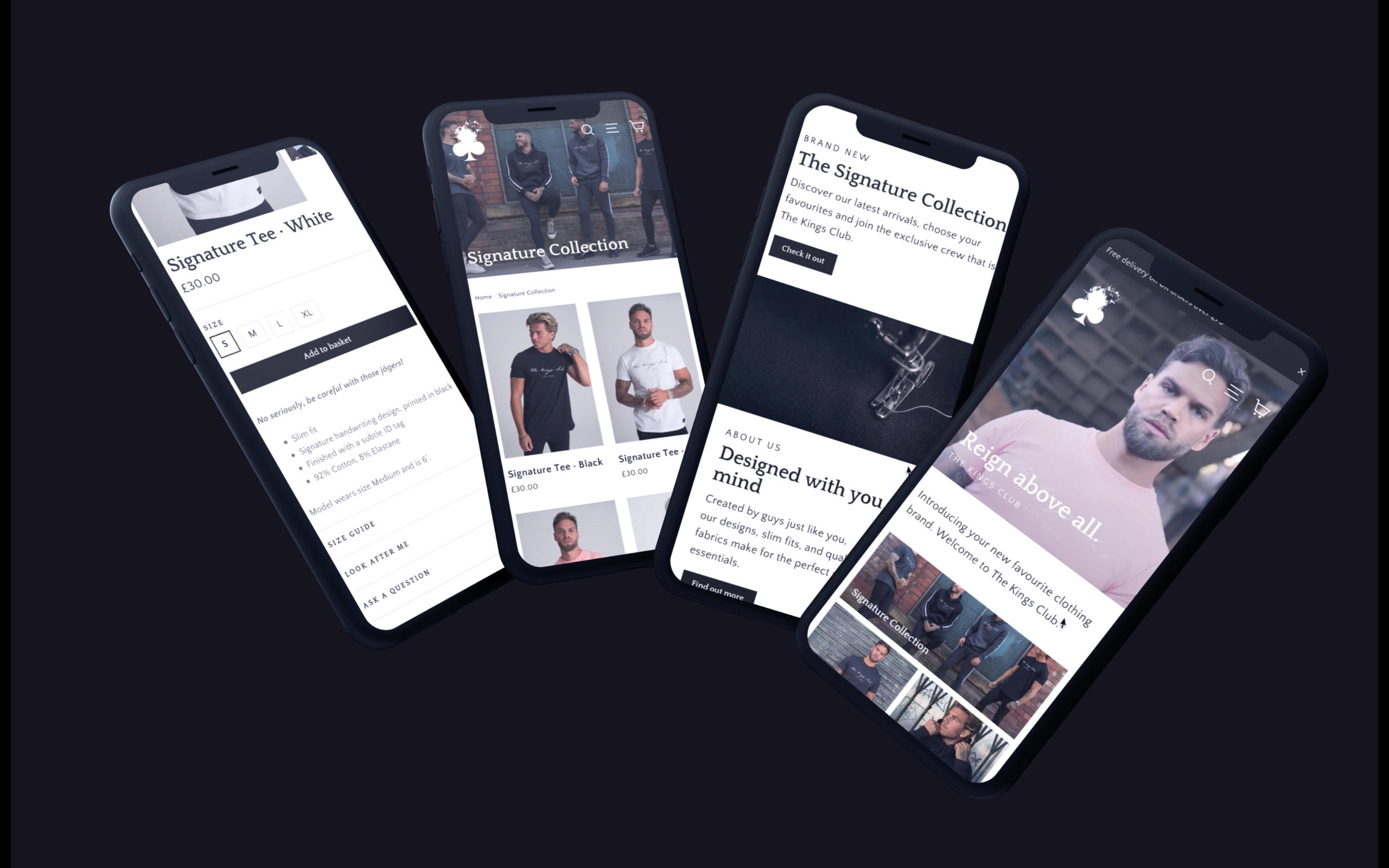 Mobile-first website design by Jack Watkins for The Kings Club