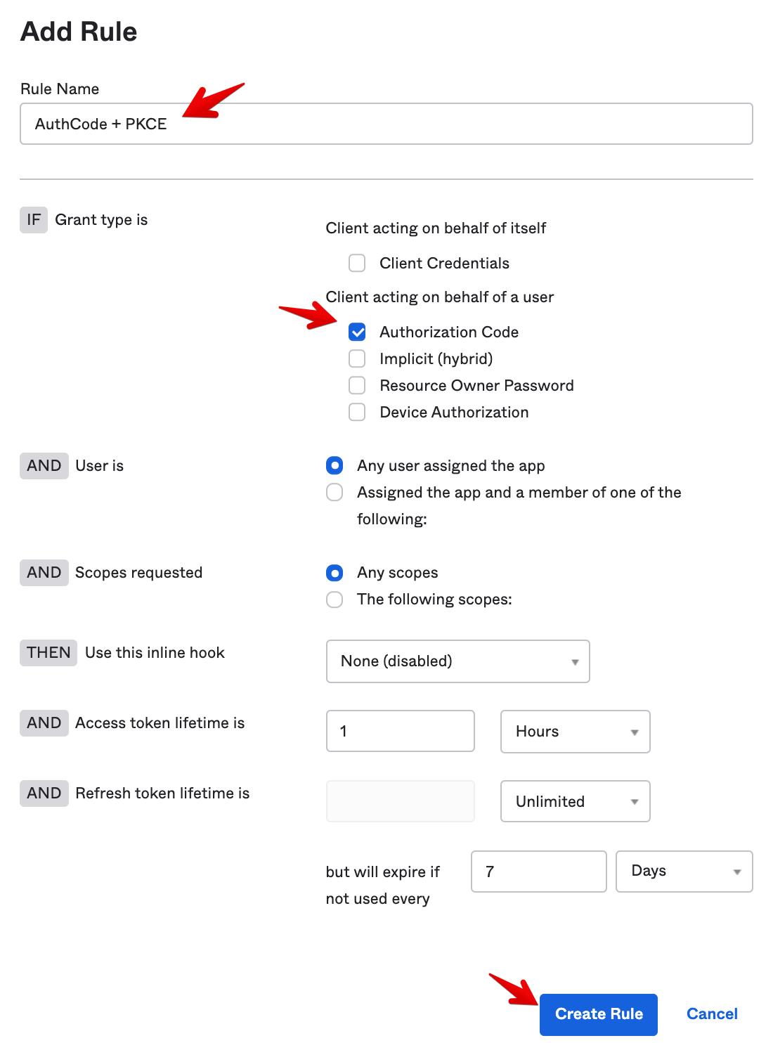 Okta Admin Console - Authorization Server - Rule Configuration