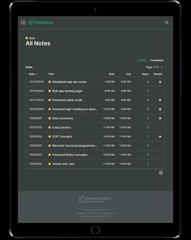 Timestamp note list