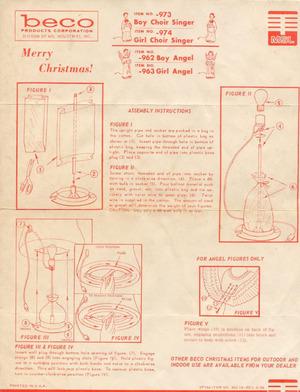 Beco Products Boy Choir Singer #973, Girl Choir Singer #974, Boy Angel #962, Girl Angel #963 Instruction Manual (06/1966) preview