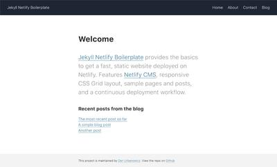 Screenshot of a page created with Jekyll + Netlify CMS Boilerplate