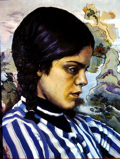 painting of girl in profile with dark hair