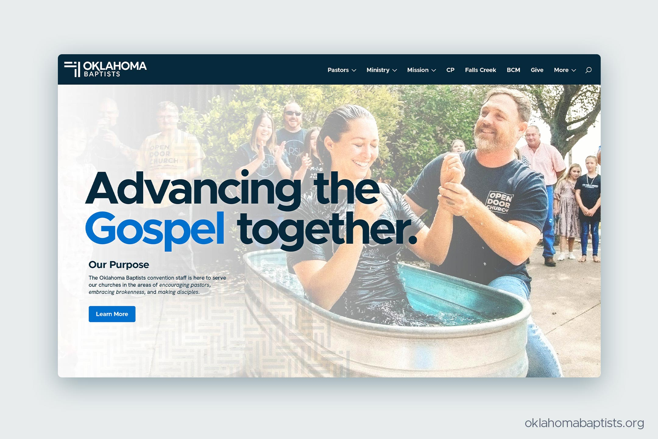 A homepage concept for the website of Oklahoma Baptists