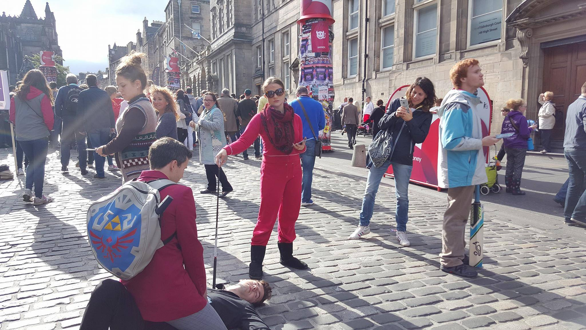The cast of Parish Fête-ality: A Game of Scones, flyering at Edinburgh Fringe Festival