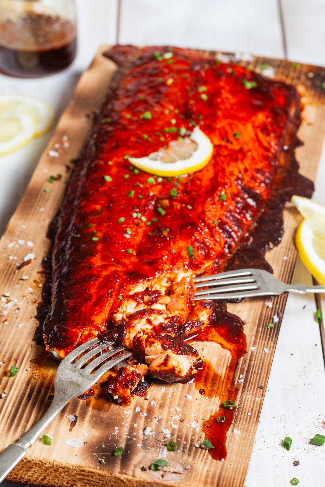 Spiced Cedar Plank Salmon With a Maple Bourbon Glaze
