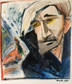 """Margus Lokk, Estonia. """"Ûks kord õhtul"""". Drawing, 110x140cm"""