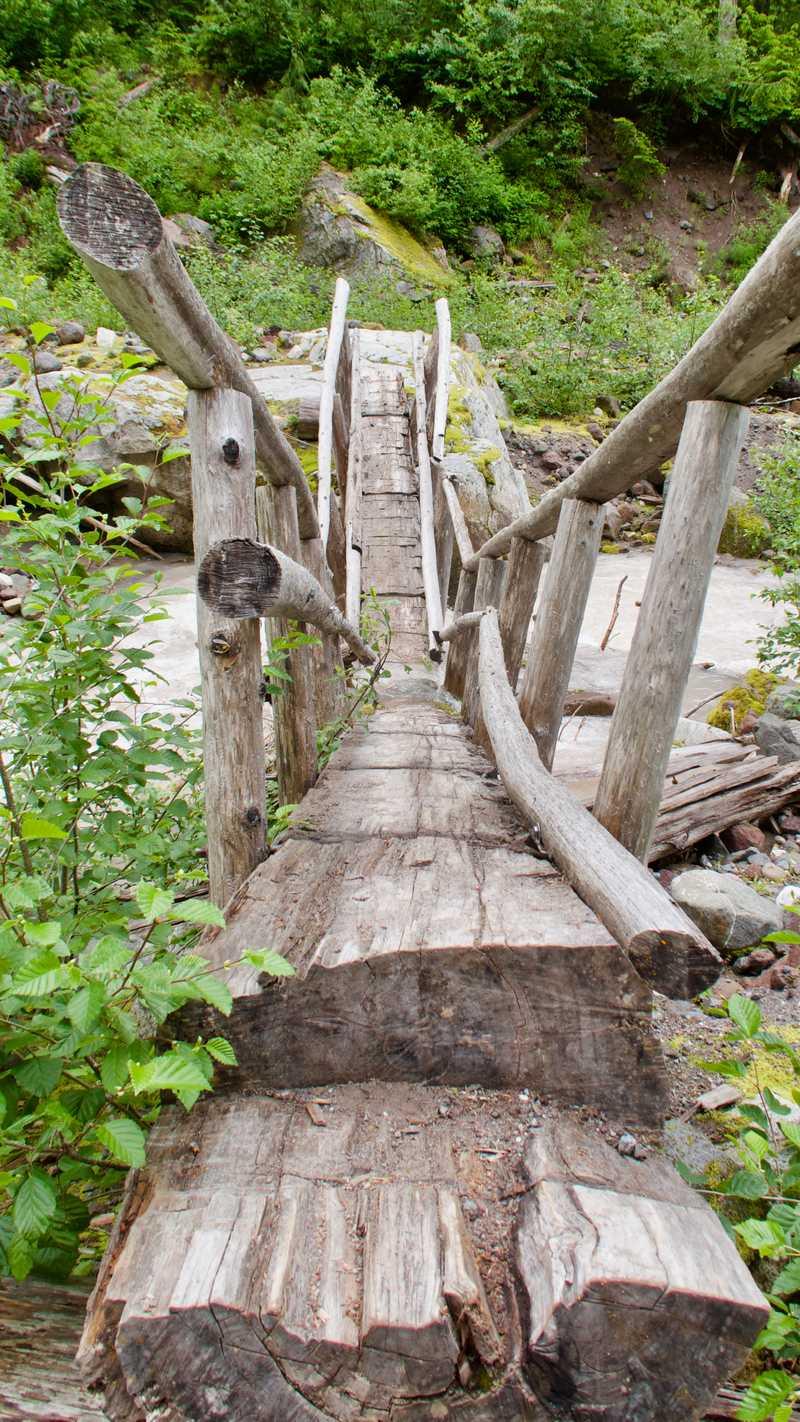 A broken bridge across Kennedy Creek