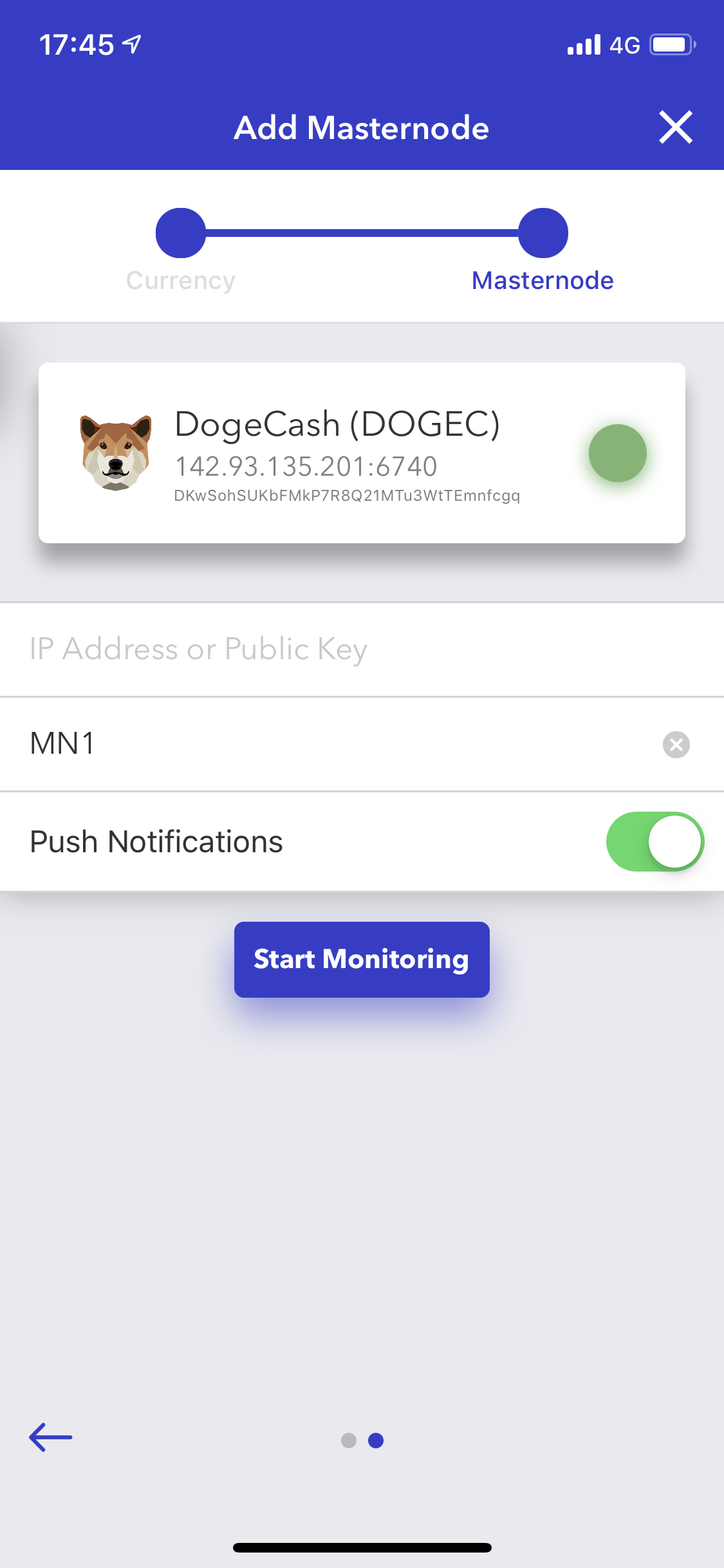 Screenshot of the app (Adding a masternode)