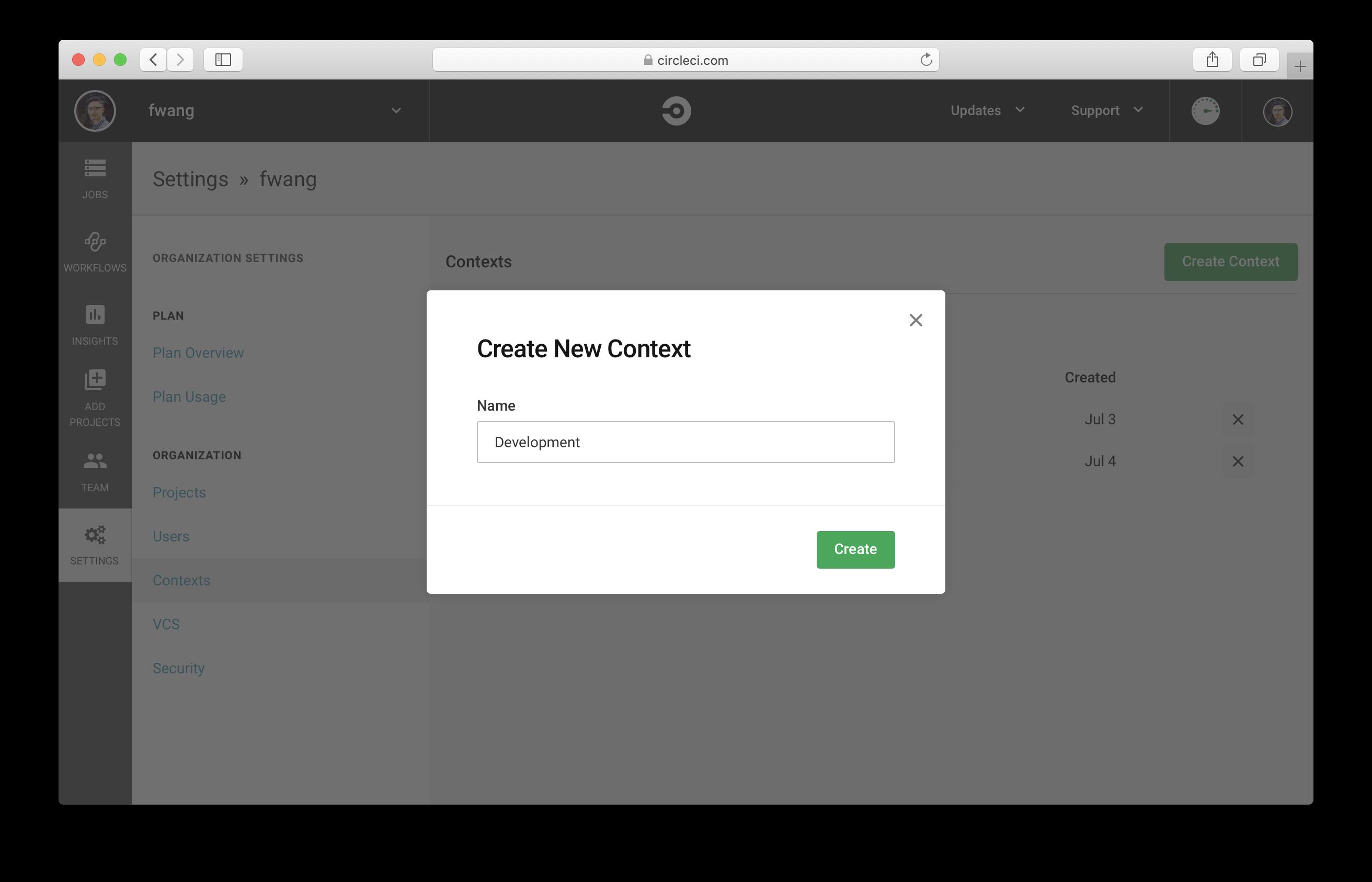 Create CircleCI Context called Development