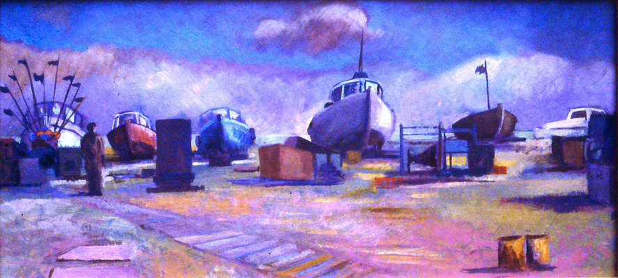 painting of fishing boats high on the beach