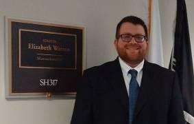 Michael Hirsch, Ph.D. on Capitol Hill at the Hart Senate Office Building, Senator Warren's office door