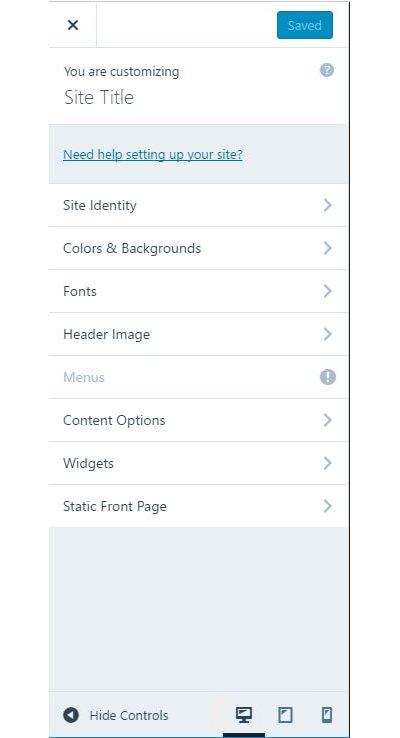 tworzenie stron w wordpress.com - panel customize