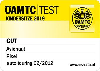 Logo testu ÖAMTC dla fotelika Pixel i bazy IQ