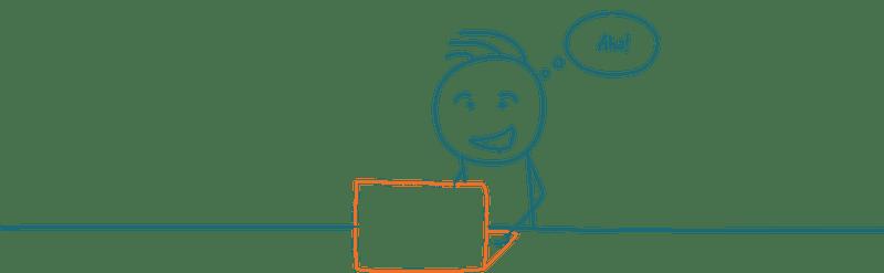 Strichmännchen vor Computer das glücklich tippt
