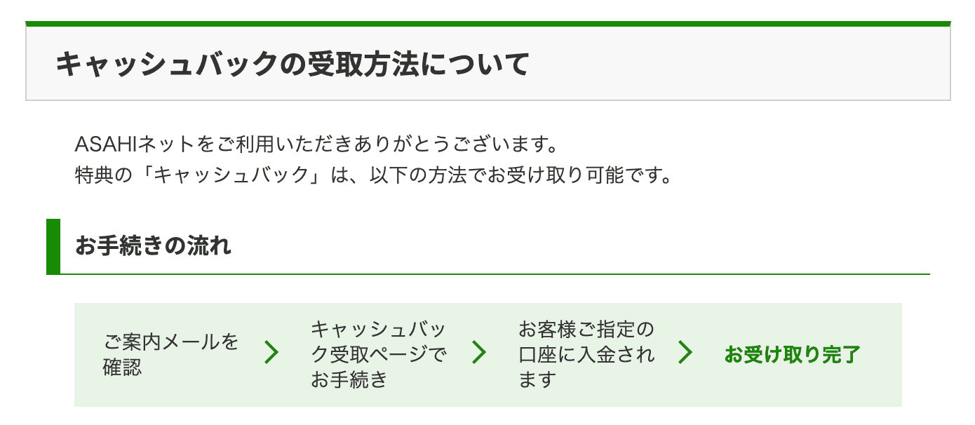 Asahiネットのキャッシュバック受け取りフロー