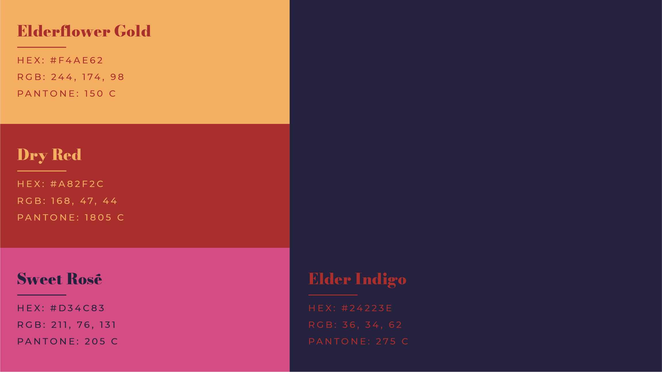 The signature colors of the Elderberry Wine Company