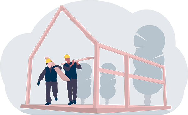 Dois pedreiros carregando materiais da construção de uma casa.
