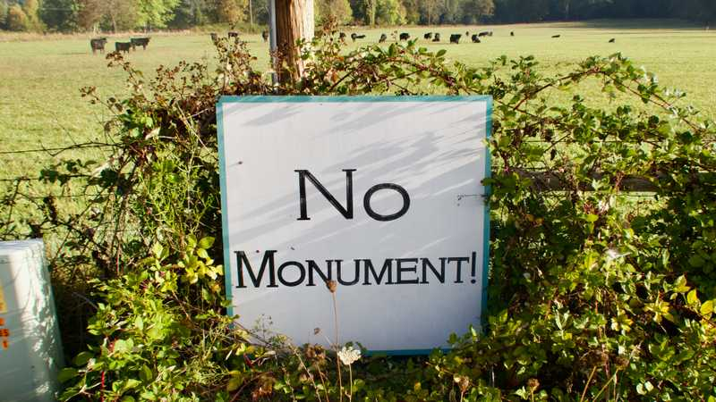 A No Monument sign
