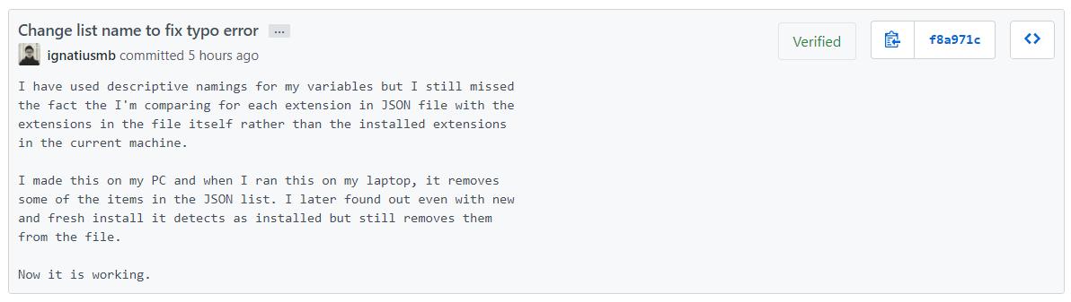 GitHub commit description
