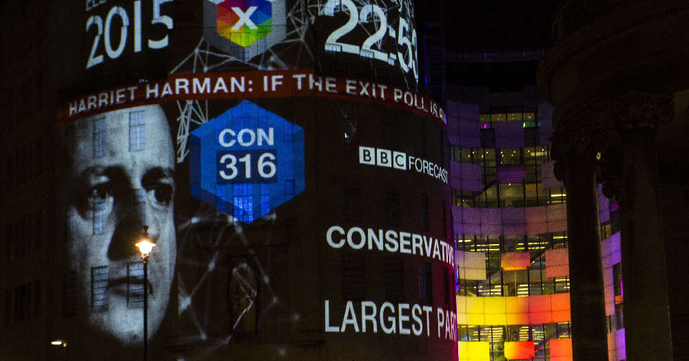 2015 UK election exit poll forecast projected onto BBC centre. 316 seats to the Conservatives