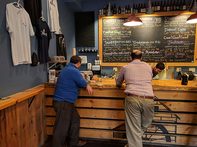 The Cold Harbor Brewing Company tap room in Westborough, MA