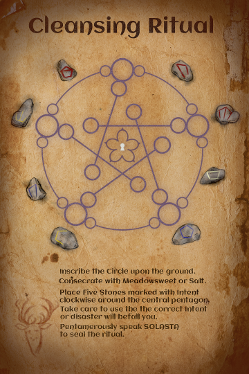 Cleansing Ritual instructions showing eight marked stones.