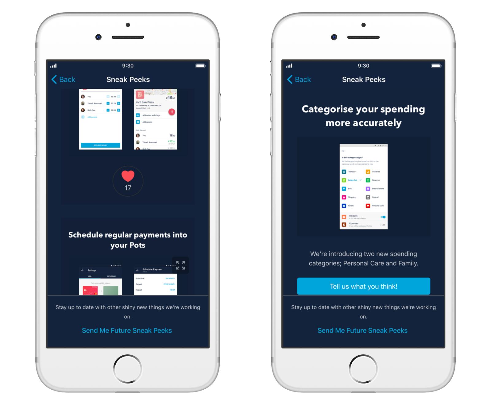 Screen showing Sneak Peeks in the Monzo app