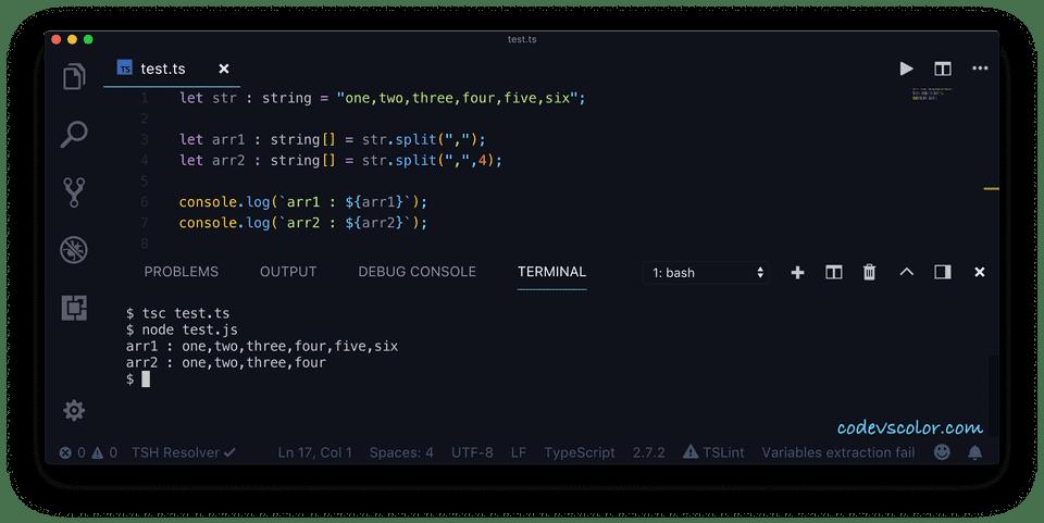 TypeScript split example