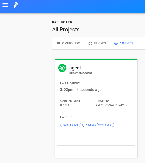 View of the Prefect Cloud website showing the equivalent agent running inside the UI