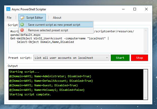 Example of saving current script as new preset script
