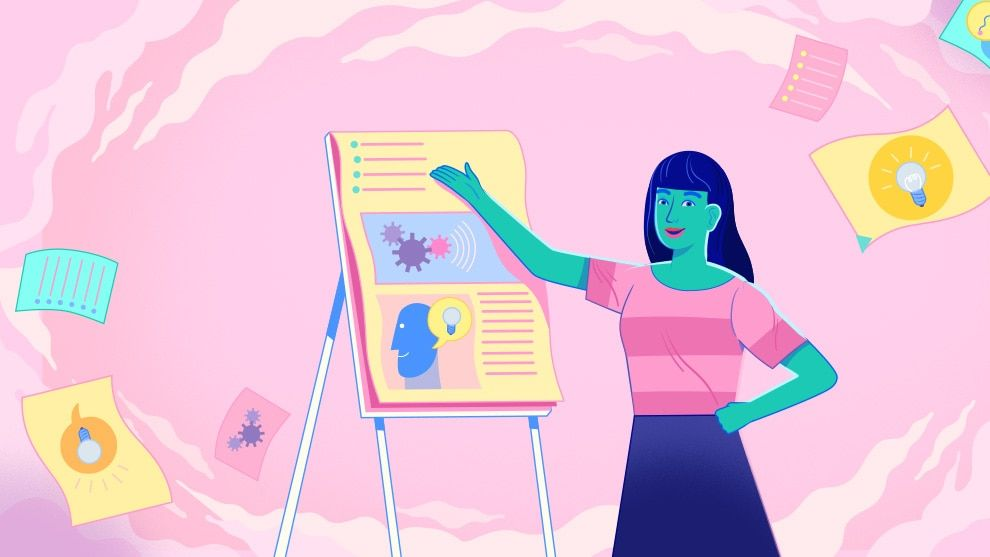 Woman presenting a paper board