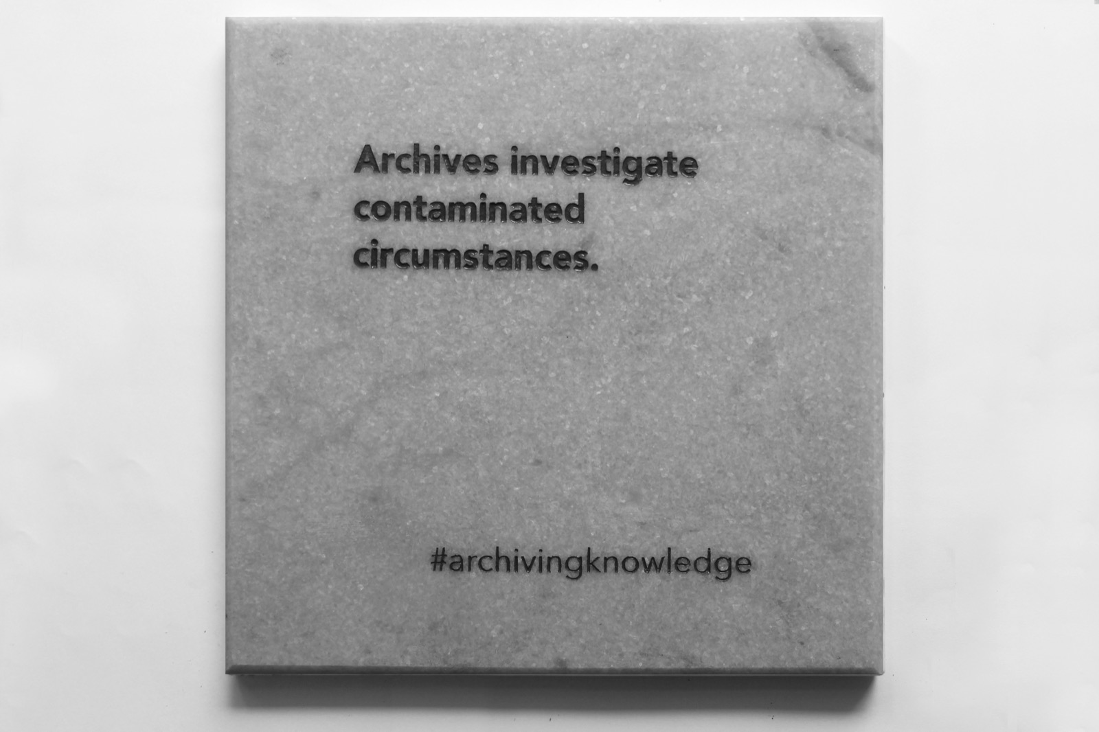 Archives investigate contaminated circumstances, From the series: Archiving Knowledge, hand engraved marble, 2018